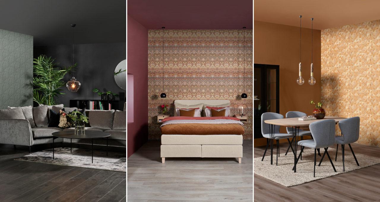 Bilde delt opp i tre miljøer med tre ulike stiler