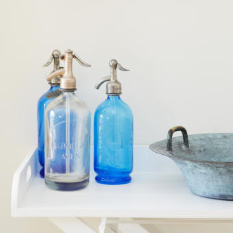 blå glassifoner antika vackra
