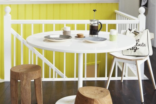 gul panel i kök modernt