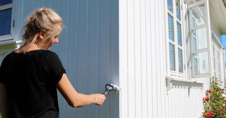 Dame maler husveggen om sommeren
