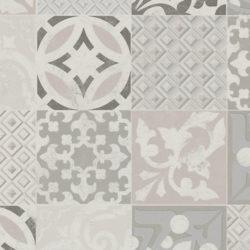 Nærbilde av gulv til kjøkken med flis- og mineralmønster