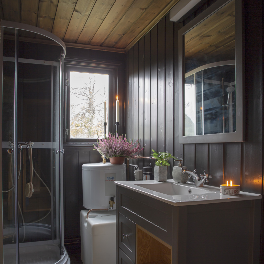Bad med malt panel på vegg og dusjkabinett i hjørnet
