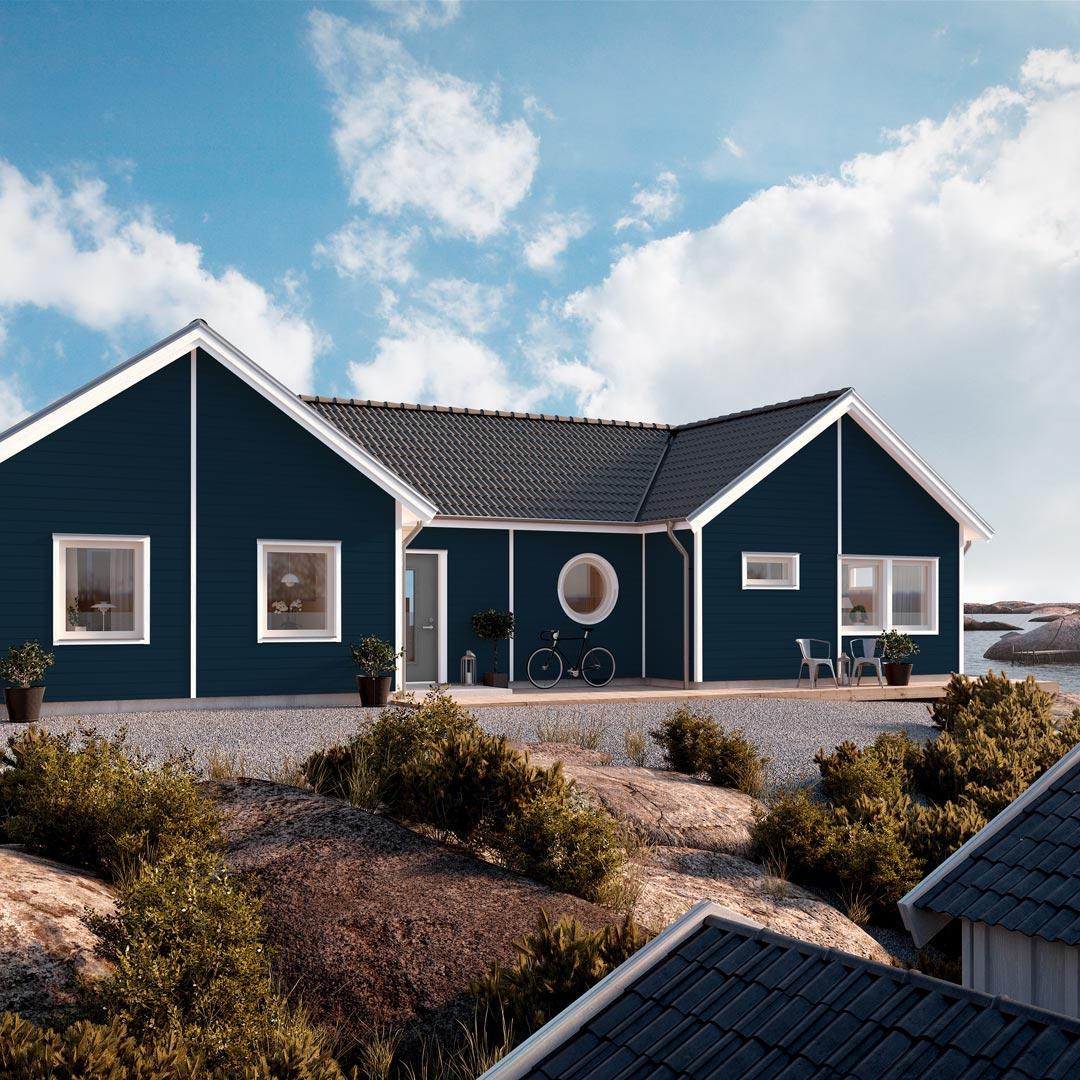 Hus ved sjøen malt med farge enbær