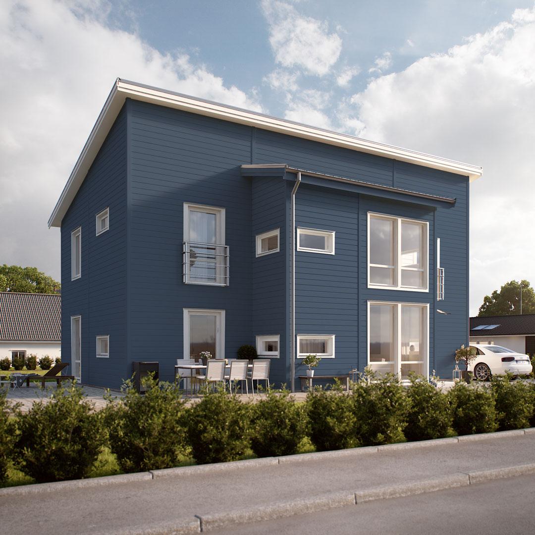 Hus ved veien malt i blå farge lavendel