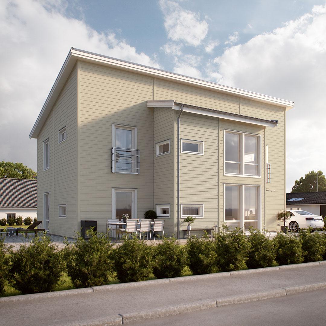 Hus ved veien malt med farge hvitløk