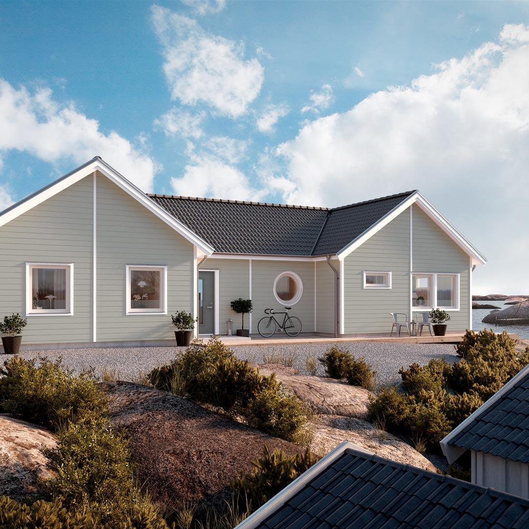 Hus ved sjøen malt med farge oregano