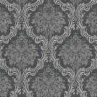 nærbilde av grå tapet med ornamentmønster