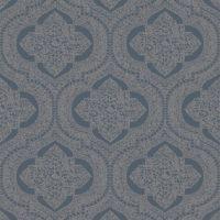 nærbilde av blågrå tapet med ornament mønster