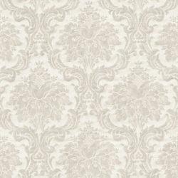 nærbilde av beige tapet med ornament mønster