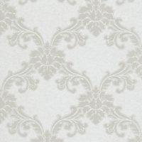 Nærbilde av hvit tapet med ornamenter