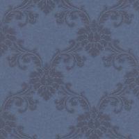 Nærbilde av blå tapet med ornament mønster
