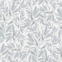 Nærbilde av hvit og grå tapet med blader