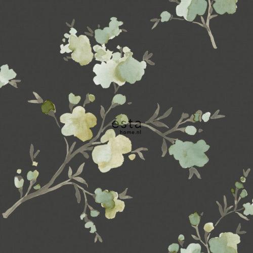 utsnitt av brun-svart tapet med blomster