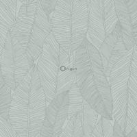 utsnitt av grønn tapet med bladmønster