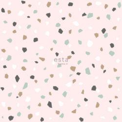 Utsnitt av rosa tapet med steinmønster i ulike farger